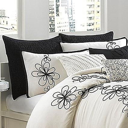 DKNY Metro Floral Twin Duvet Cover In Vanilla/Black