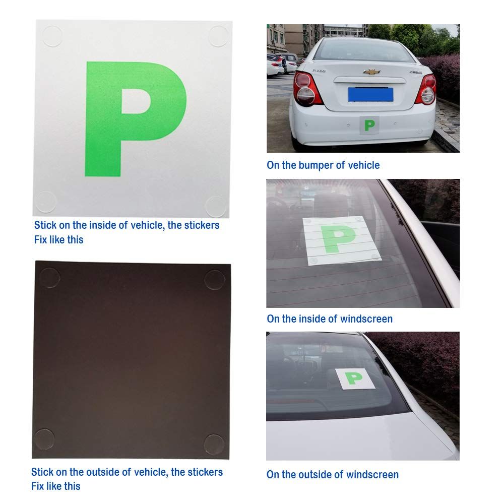 Maglory P Plates Fully Magnetic Reflective Signs//Bumper Sticker for Car New Driver Extra Thick 2 Pieces Pack,Reusable Multi-Functional Stickers For Non Iron Surface Excellent Gift Packing