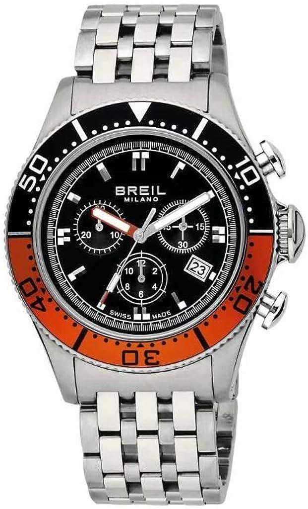 Breil BW0499 - Reloj cronógrafo de caballero de cuarzo con correa de acero inoxidable plateada (cronómetro)