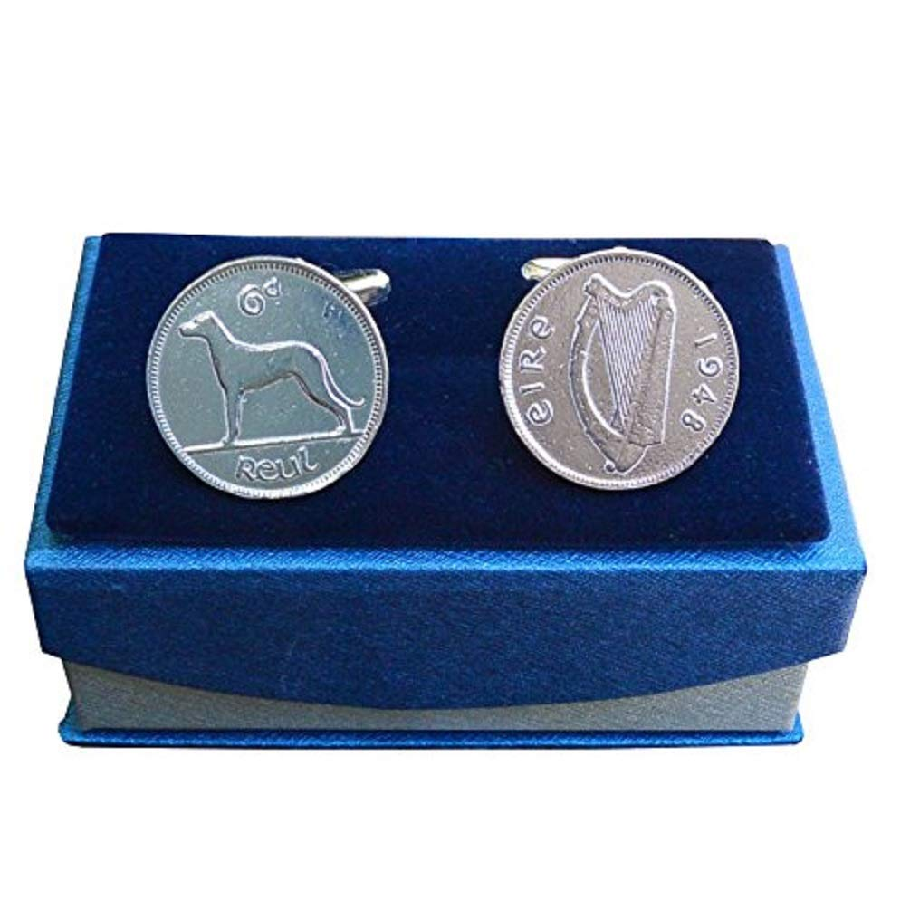 Luxury Fine Pewter 1948 Irish Sixpence Cufflinks with Harp and Wolfhound, Handcast by William Sturt
