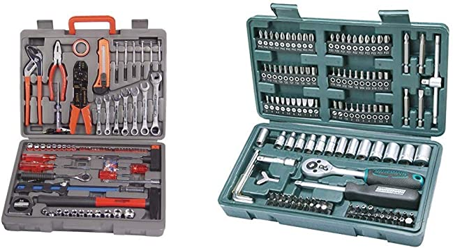 Mannesmann - M29555 - Maletín de herramientas de 555 piezas + Mannesmann M29166 - Maletín con juego de llaves de vaso y puntas de destornillador: Amazon.es: Bricolaje y herramientas