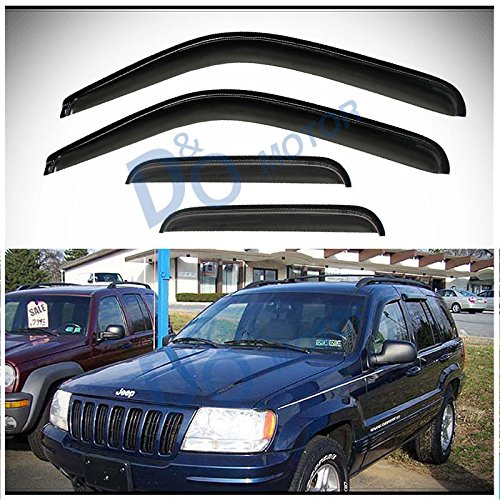 D&O MOTOR 4pcs Front+Rear Smoke Sun/Rain Guard Outside Mount Tape-On Window Visors For 99-04 Jeep Grand Cherokee