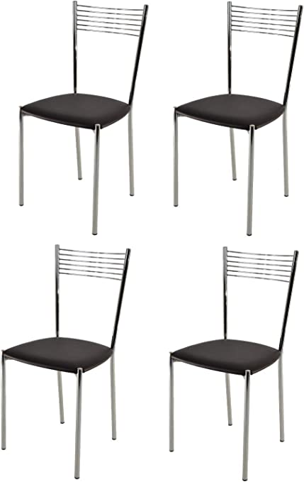 Set 4 chaises Elegance Modernes pour la Cuisine et la Salle /à Manger avec Structure en Acier chrom/é et Assise en Cuir Artificiel Coleur Noir Tommychairs Chaise du Design