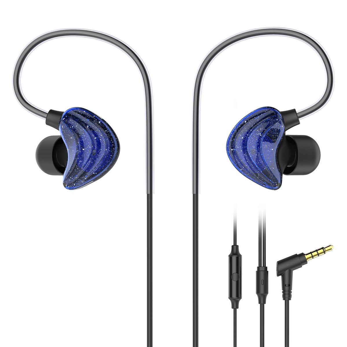 UiiSii In Ear Earphones, CM5 Sports Headphones with Mic and Remote, Comfortable Graphene Coaxial Design, and Stereo Bass Earbuds For Gym Running(Blue) by UiiSii