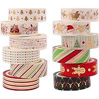 12 rollen kerst Washi Tape Set,Gouden folie decoratieve tape maskeren Scrapbooking Tape kleverige tape voor DIY…