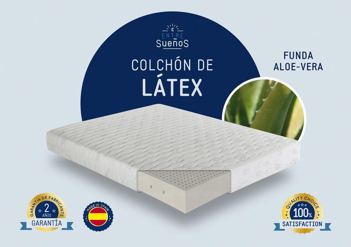 Colchón LATEX 100% | Adaptable a la curvatura de la columna | 7 Zonas | Funda desenfundable y lavable a 60° | Fabricación nacional | Firmeza media-baja ...