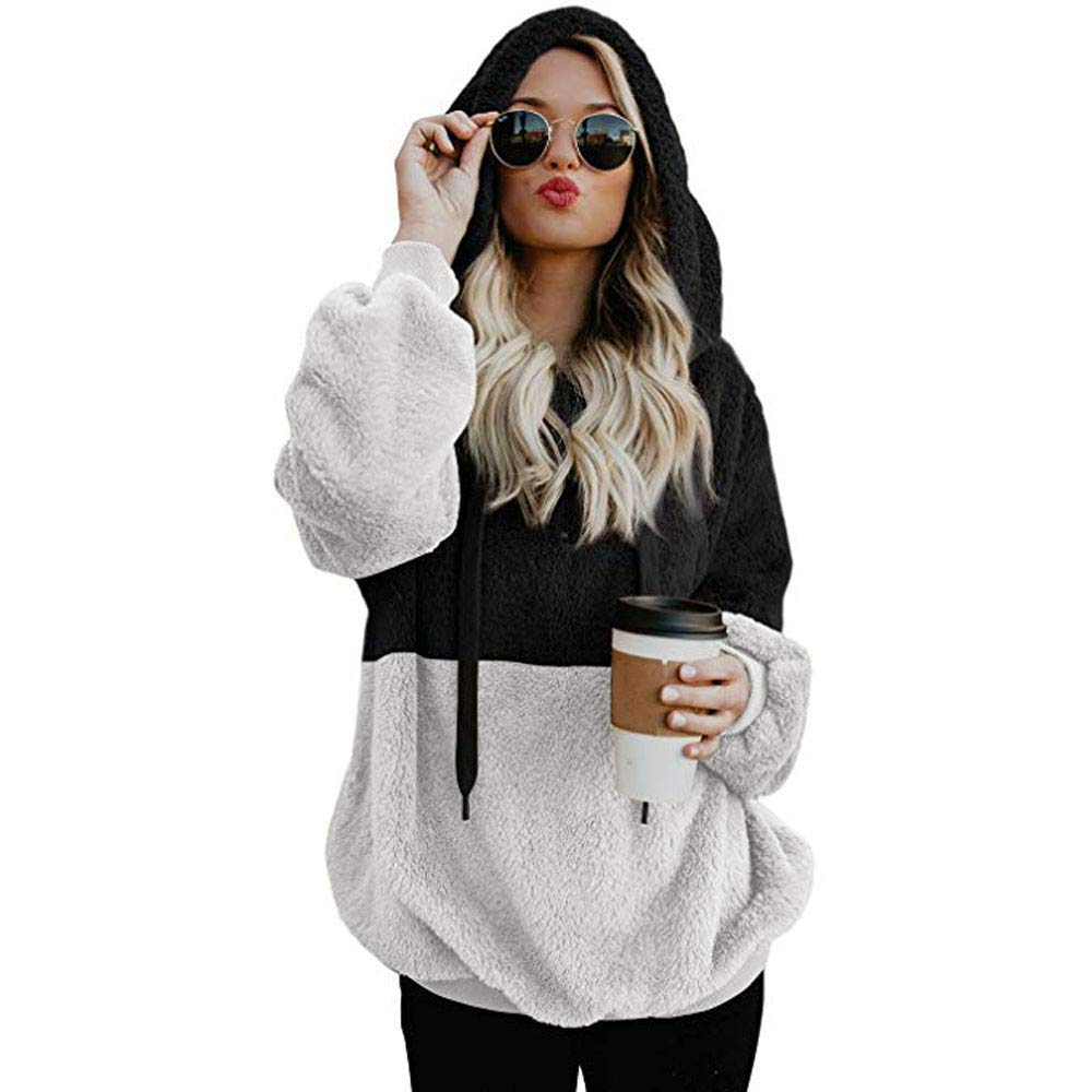 SMALLE ◕‿◕ Clearance,Sweatshirts for Women, Hooded Sweatshirt Winter Warm Zipper Pocket Pullover Blouse Shirts BK/XXL