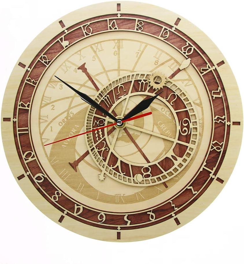 XINTANG Relojes de Pared Reloj astronómico de Praga en Madera República Checa Astronomía Medieval Arte de la Pared Astrología Reloj de Pared Decorativo Obra de Arte Regalo de Praga