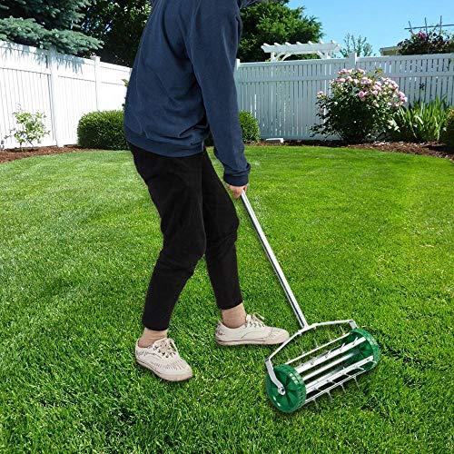 Binlin Lawn Aerator Roller,Heavy Duty Aerator Roller Spike Tool with Steel Handle Garden Yard Home Grass