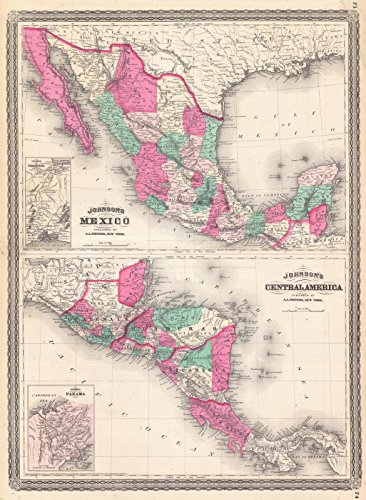 ohnson's Mexico - Johnson's Central America | Historic Poster Art Reproduction | 44in x 61in ()