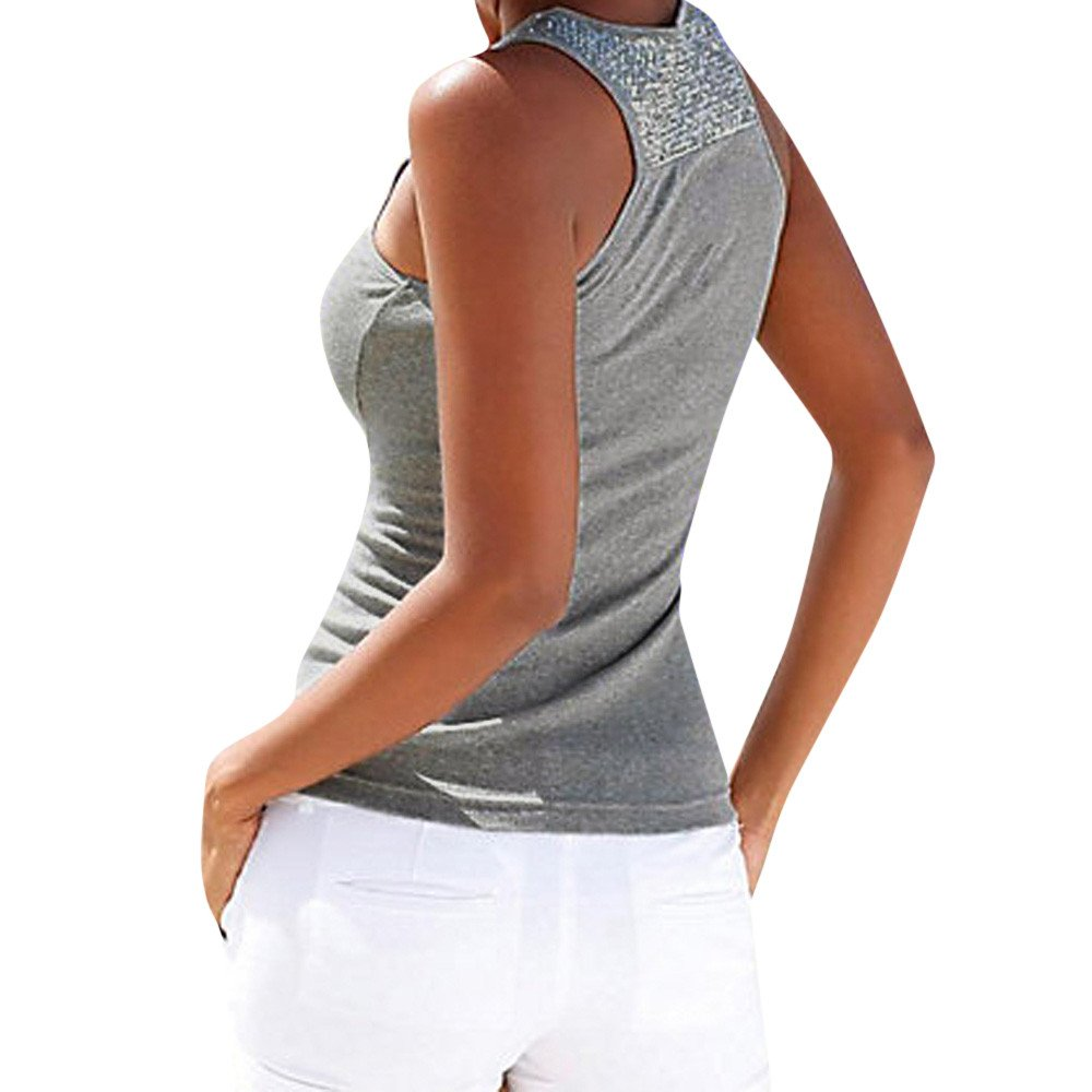 Women Tank Tops Sleeveless Solid Shirt Sequin Splice Plus Size Casual Vest Tunic Tops Blouse (L, Gray) by Yihaojia Women Blouse (Image #1)