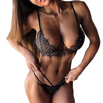 Bibao - Conjunto de sujetador y braguita de encaje sexy para mujer, 2 piezas,