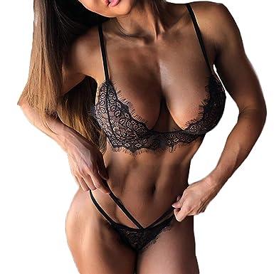 dbbedb857776 Women Lace Lingerie Sexy Deep V Lingerie Lace Babydoll Mini Bodysuit Bra  Set Underwear (S