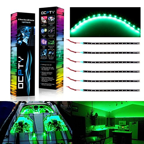 OCPTY Car LED Strip Light, 6Pack RGB 30CM 15-SMD Green Waterproof LED Under Dash Lighting Kit Motorcycle Decoration Light Kit (Line Cruisers Green)