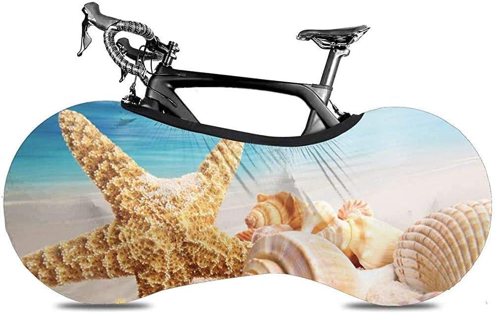 Cubierta de Rueda de Bicicleta, Cubierta de Bicicleta - Arena Colorida Concha Estrella de mar y Conchas Marinas en la Playa con Cielo Azul mar océano