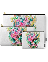 Society6 Tropical Skull Carry-All Pouch