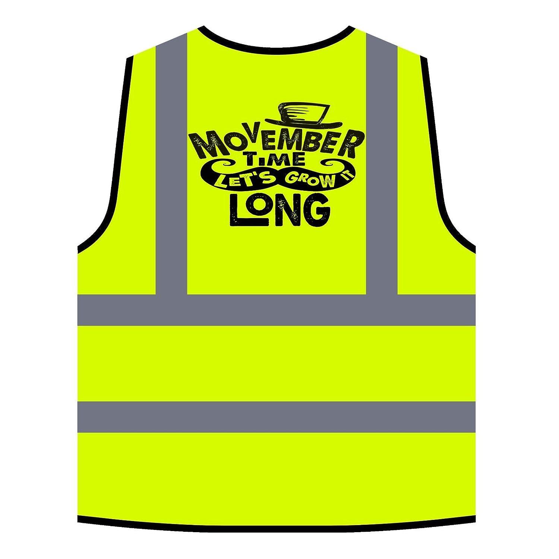 Le Temps de Movember Nous Allons Pousser Longtemps Veste de Protection Jaune personnalis/ée /à Haute visibilit/é u268v