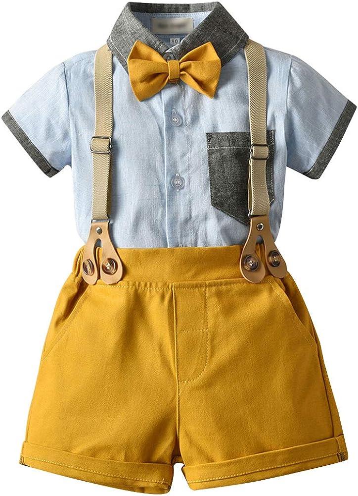 AIWUHE Baby Kurzarm Bekleidungssets Hemd mit Fliege Hose mit Tr/äger Baby Junge Gentleman Anzug Smoking Anz/üge f/ür Hochzeitsfeier Taufe Geburtstag