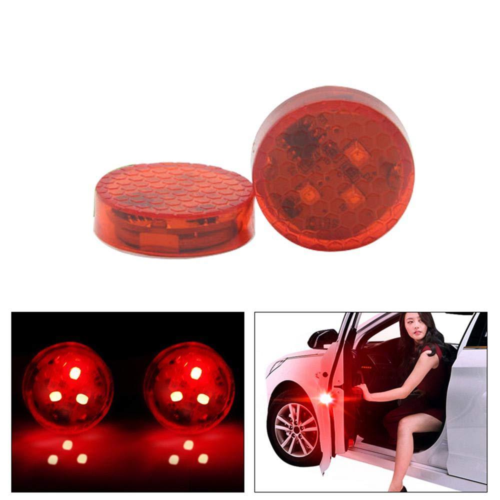 FOONEE Universal-LED-Warnlicht, kabellos, fü r Autotü r, Anti-Kollisions-Warnlicht, eingebauter magnetischer Sensor, fü r Rü ckwä rts- und Auto-Tü r-Kollisionen, 2 Stü ck Colorful(3 LEDs)