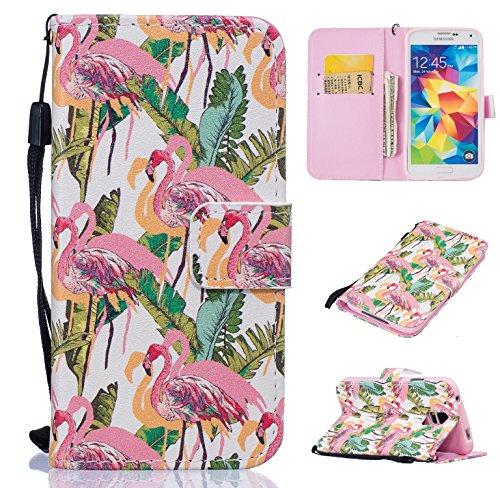 Ecoway Schutzhülle / Cover / Handyhülle / Ledertasche / Brieftasche Etui für Samsung Galaxy S5 i9600 Gemalte Muster Design Folio PU Leder Tasche Case Hülle im BookStyle mit PU Leder Hülle Wallet Case - Flamingos