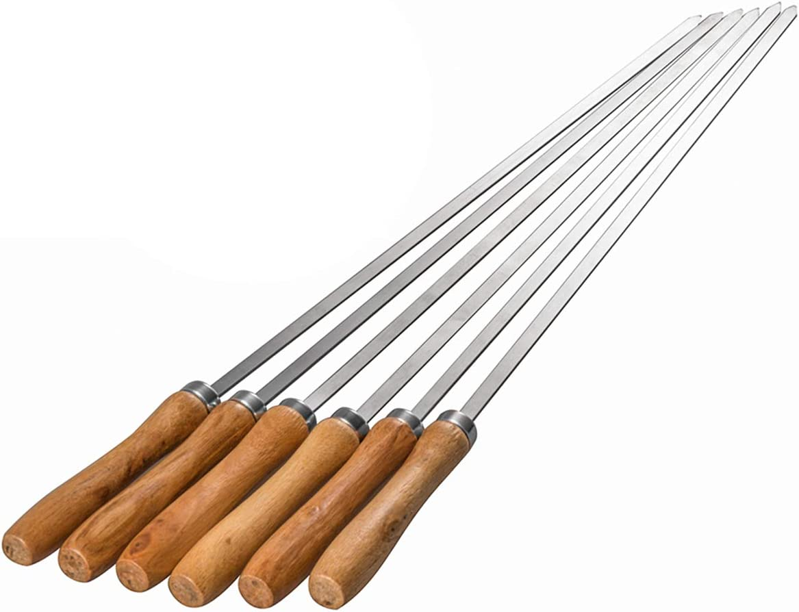 Wooden 8 PCS Skewers for Grilling Stainless Steel BBQ Sticks with Wooden Handle 16 inch Kabob Skewer with Campfire Roasting Bag