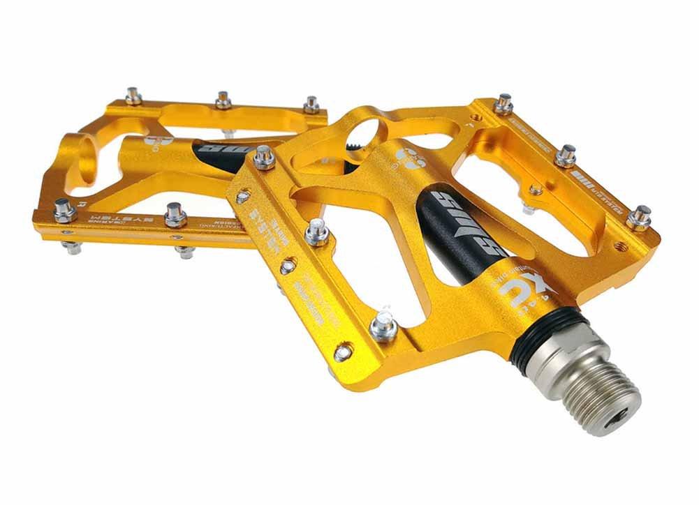 shibikeバイクペダル9 / 16サイクリングマウンテンバイクベアリングペダル超軽量アルミ合金PalinペダルノンスリップRoad BMX MTB固定ギア自転車用  ゴールド B07CF76CB2