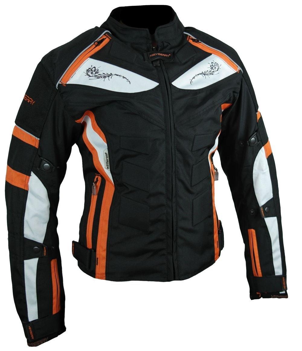 40 L HEYBERRY Damen Motorrad Jacke Motorradjacke Textil Schwarz Orange Gr