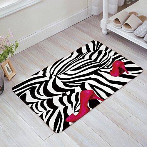 - HomeCreator Fashion Zebra Pink High Heels Print Door Mats Kitchen Floor Bath Entrance Rug Mat Absorbent Indoor Bathroom Decor Doormats Rubber Non Slip 32