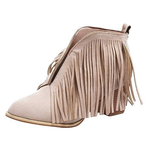 Manadlian Botas Mujer Nieve, 2018 Botín Mujer Tacon Ancho Franja Sólida Botines de Moda Zapatos de Mujeres Borla Bootie Botas Cortas: Amazon.es: Zapatos y ...