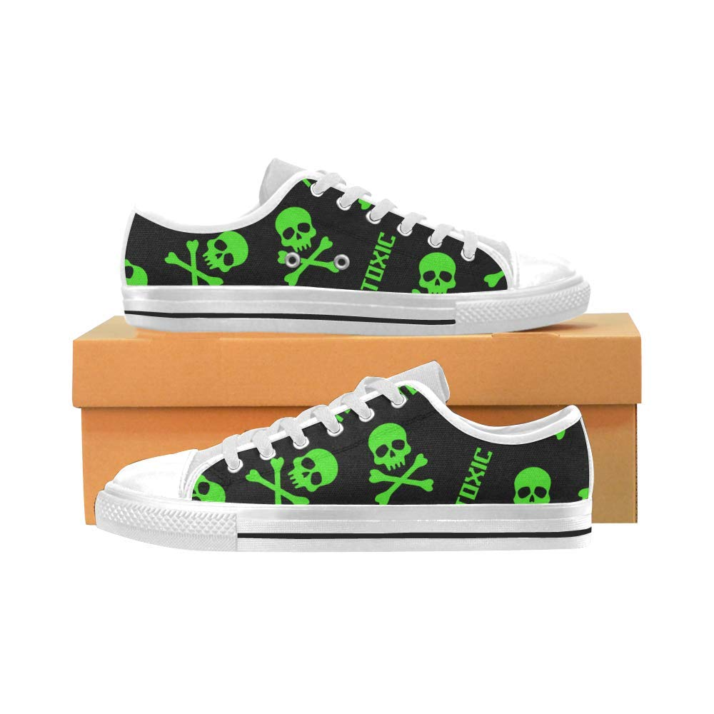INTERESTPRINT Skulls and Toxic Signs Aquila Canvas Shoes for Big Kids Green
