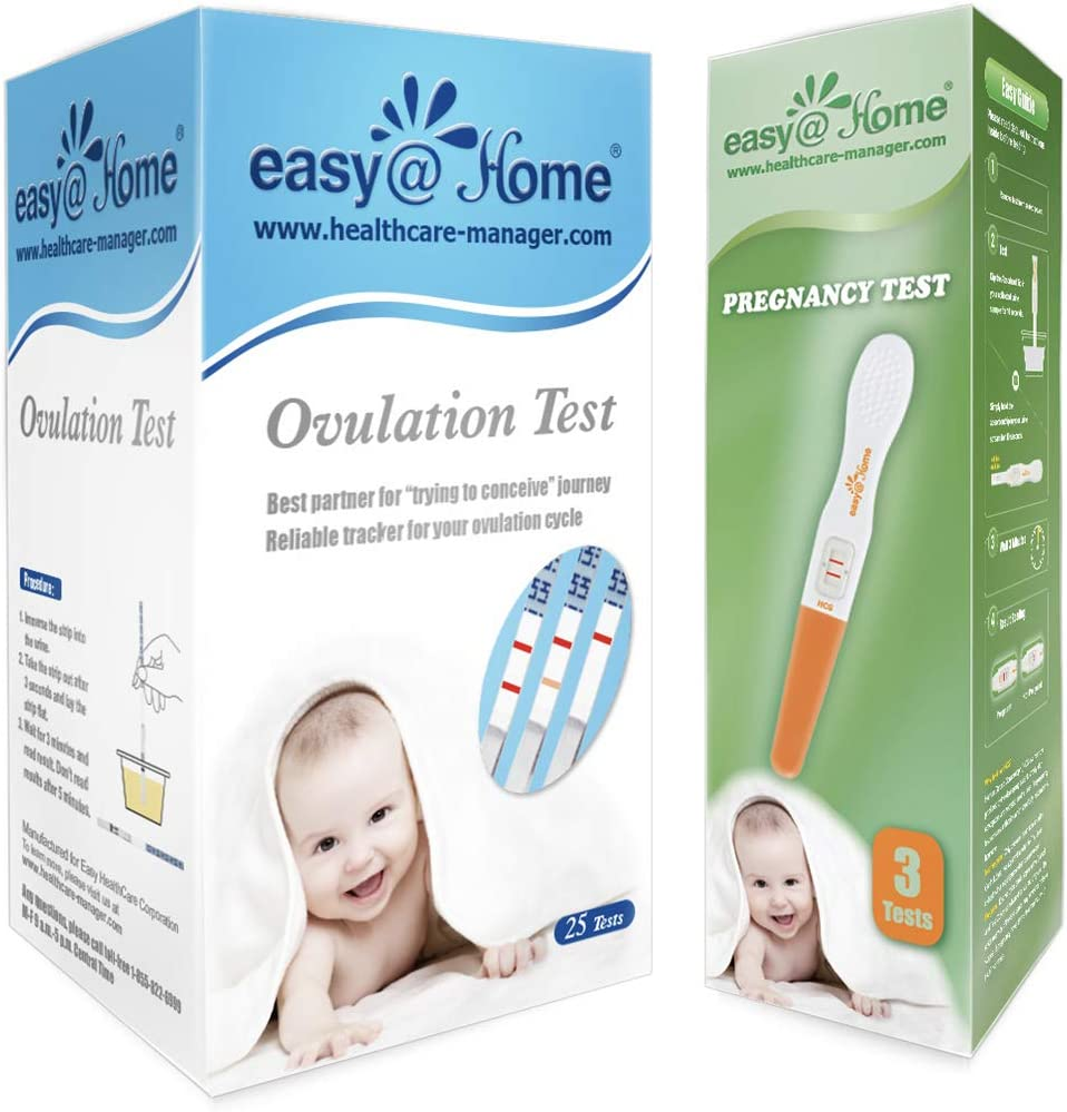 Easy@Home Ovulation Test and Pregnancy Test Kit, 25LH Strips+3HCG Sticks