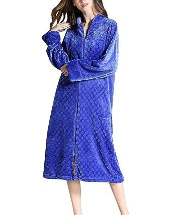 Albornoz Mujer Largos Invierno Cómodo Suave Coral Fleece Batas Modernas con Cremallera Manga Larga Anchas Casuales Unicolor Sauna Abrigos Pijamas Mujer: ...