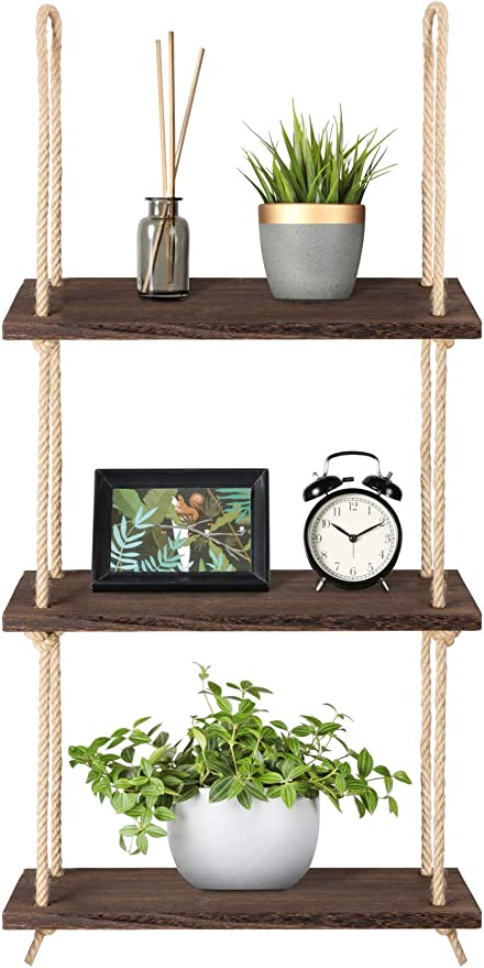 Amazon Com Mkono Wall Hanging Shelves Wood Window Rope Shelf 3 Tier Rustic Storage Rack Home Decor Plants Photos Decorations Display For Living Room Bathroom Bedroom Kitchen Apartment Office Kitchen Dining
