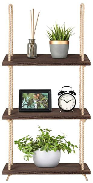 Outstanding Mkono Wood Hanging Shelf Wall Swing Storage Shelves Jute Rope Organizer Rack 3 Tier Interior Design Ideas Tzicisoteloinfo