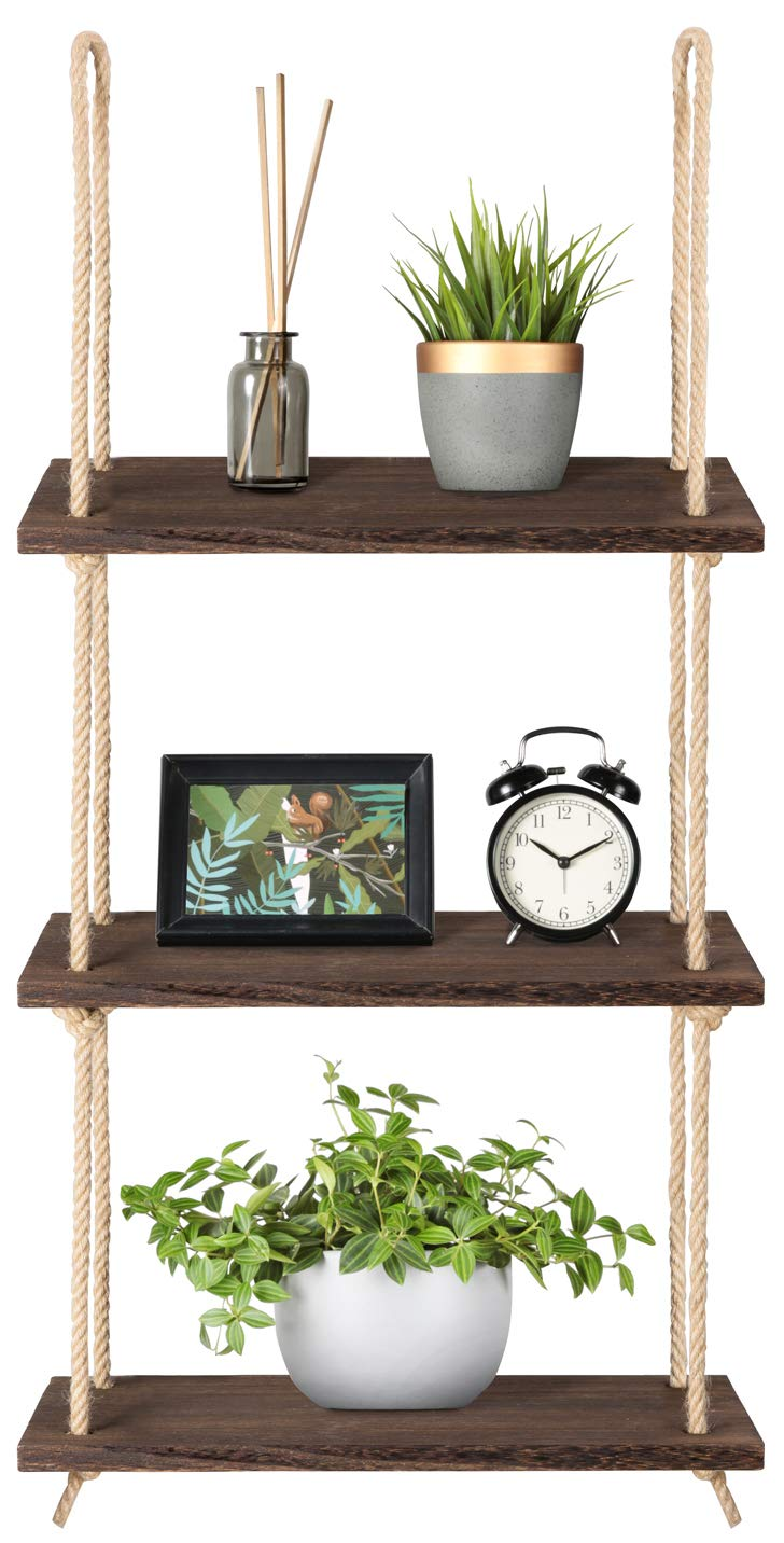 CDM product Mkono Wood Hanging Shelf Wall Swing Storage Shelves Jute Rope Organizer Rack, 3 Tier big image