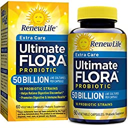 Renew Life Extra Care Probiotic, Ultimate Flora, 50 Billion, 60 Capsules