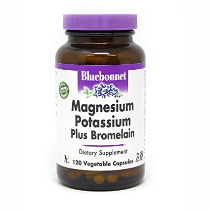 Magnesio Potasio Plus bromelina, 120 Vcaps - Bluebonnet Nutrición
