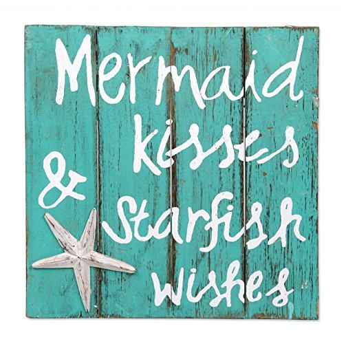 NOVICA Green Hand Made Wood Beach Sign, 'Mermaid Kisses' Review