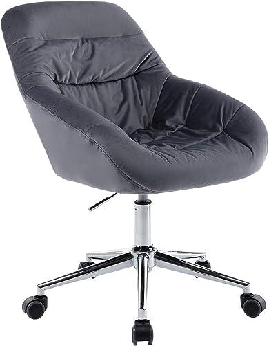 HOMEFUN Home Office Chair, Velvet Swivel Modern Chair Accent Chair for Office Living Room Bedroom, Grey