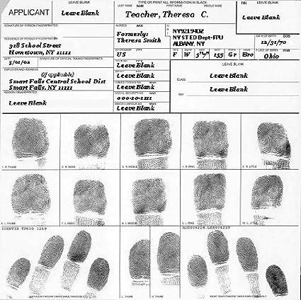 1 Fingerprinting Card FBI FD258