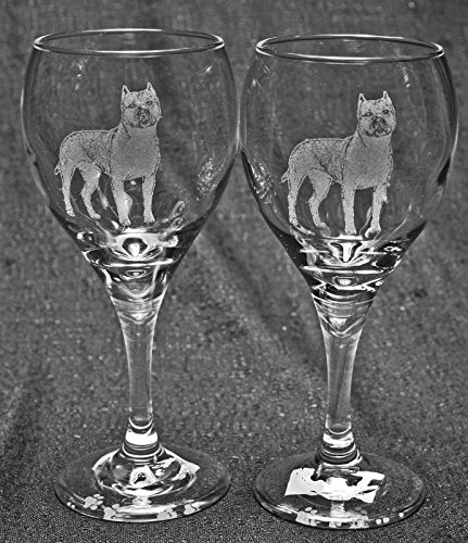Muddy Creek Reflection American Staffordshire Terrier Pit Bull Dog Laser Etched Wine Glass Set (2, TDW)