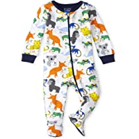 The Children's Place Baby and Toddler Boys ABC Animal Snug Fit Cotton One Piece Pajamas, White, 3-6MONTHS
