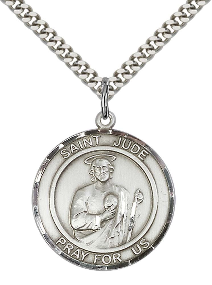 "Sterling Silver St. Jude Pendant with 24"" Stainless Steel Heavy Curb Chain. Patron Saint of Desperate Situations"