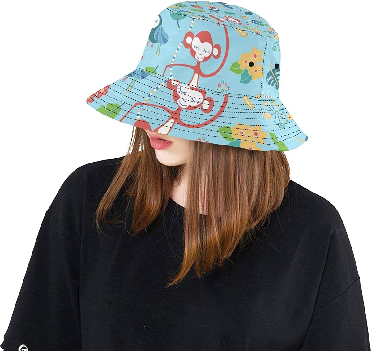 Monkey Cute Funny Forest Animals Summer Unisex Fishing Sun Top Bucket Hats for Kid Teens Women and Men with Packable Fisherman Cap for Outdoor Baseball Sport Picnic