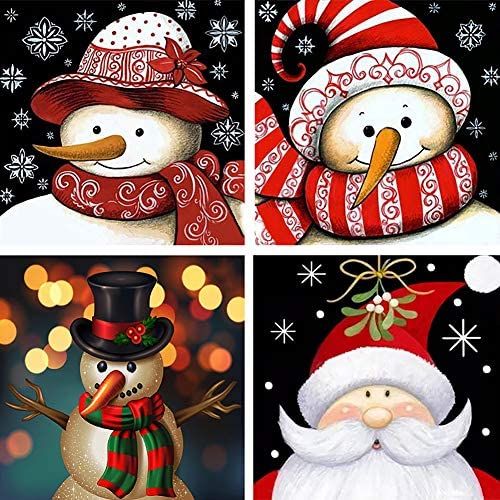 Trooer 4 Packs DIY 5D Diamond Painting Kits 12 x 12 Inch Full Drill Wall Hanging Diamond Arts Craft Set for Christmas Snowman Home Wall(pink)