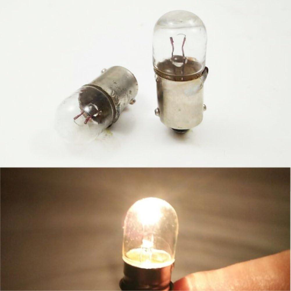 confezione da 10 6.3V 0.15A BA9/BA9S 6.3/V//0.15/A 0.945/W lampadina miniature Screw base lampada luce bianca calda per insegnare Experiment