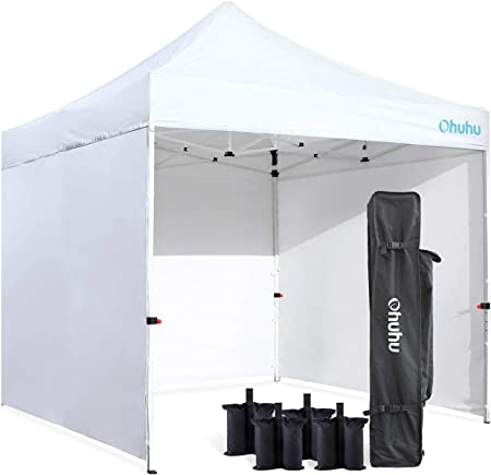 Amazon Com Ohuhu Sturdy 10 X 10 Ft Pop Up Canopy Tent With Reinforced Metal Frame 4 Removable Zipper End Side Walls Wheeled Carrying Bag Bonus 4 Weight Bag Garden Outdoor