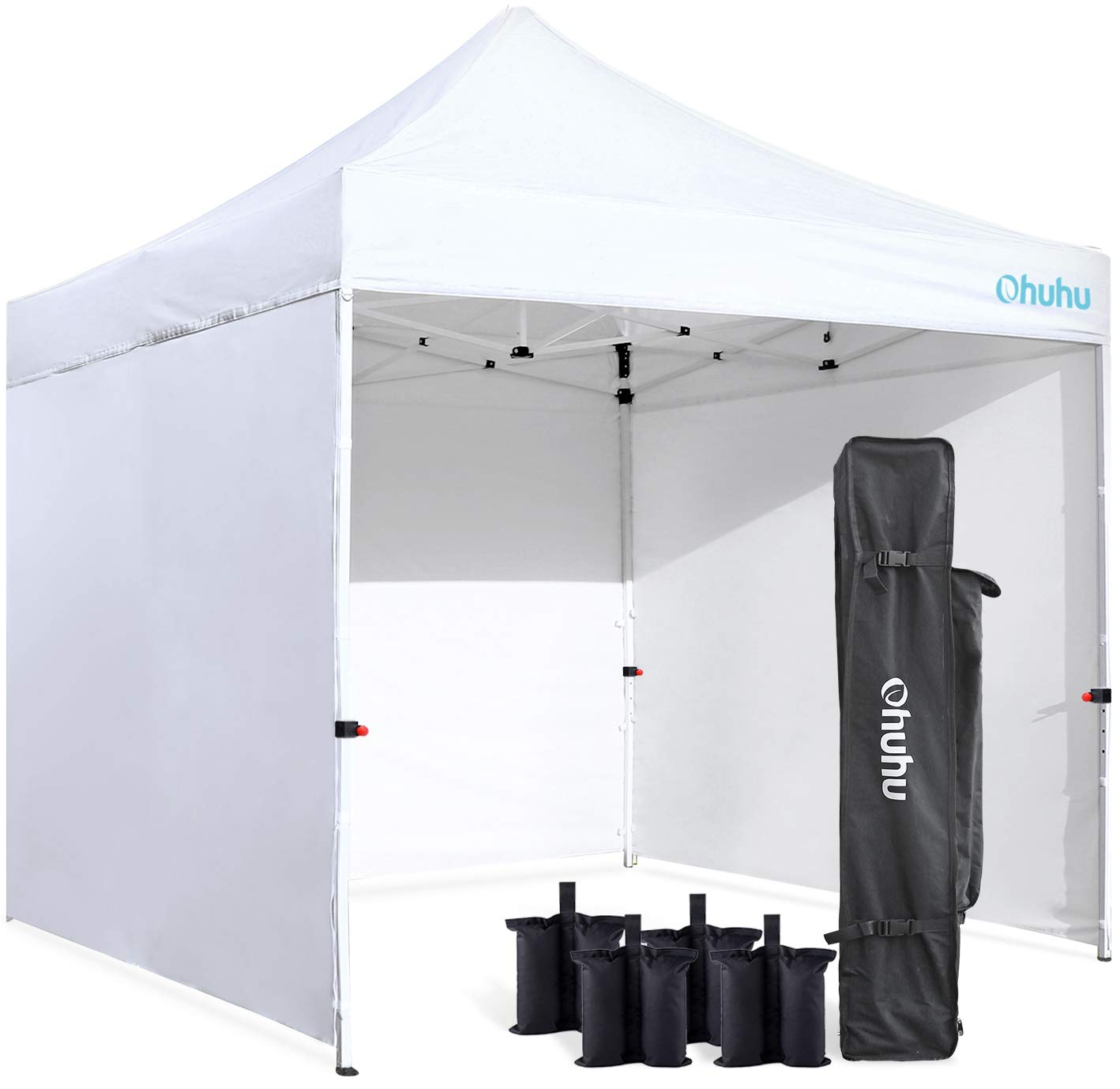 Ohuhu Sturdy 10 x 10 FT Pop-up Canopy Tent with Reinforced Metal Frame, 4 Removable Zipper End Side Walls Wheeled Carrying Bag, Bonus 4 Weight Bag