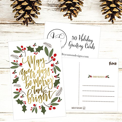 50 Green & Gold Holiday Greeting Cards, Cute Fancy Blank Winter Christmas Postcard Set, Bulk Pack of Premium Seasons Greetings Note, Happy New Years for Kids, Business Office or Church Thank You Notes Photo #6