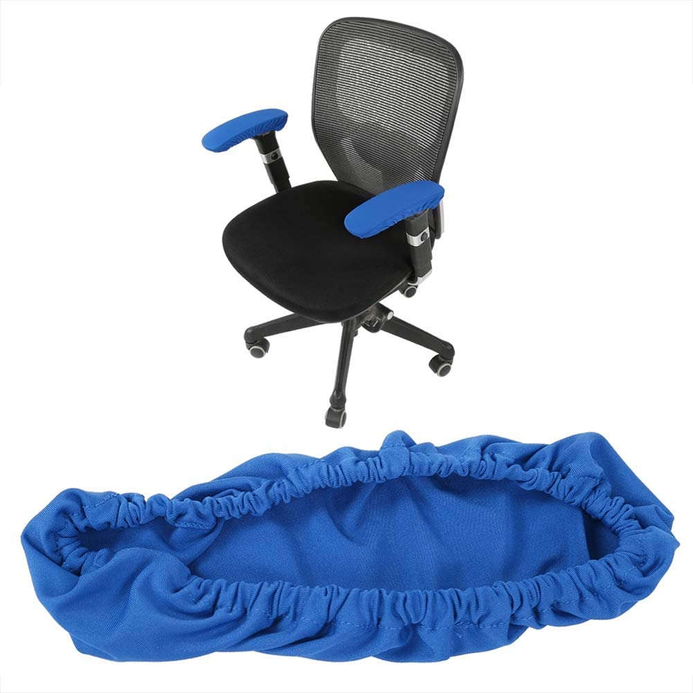 1 Pair Knitted Elastic Fabric Chair Armrest Covers Office Wheelchair Arm Rest Pad Elbows Forearms Pressure Relief slipcover (Blue)